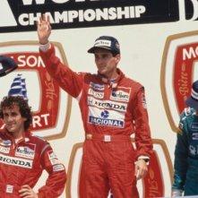 Ayrton Senna nel momento della vittoria nel film Senna