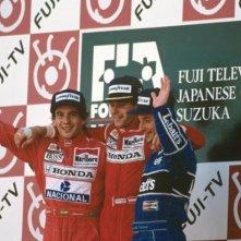 Ayrton Senna sul podio nel film Senna