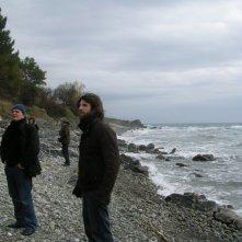 Mario Martone e Luigi Pisani sul set prima delle riprese di Noi credevamo (spiaggia di Acciaroli)