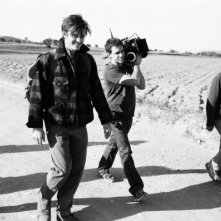 Sam Riley e la troupe sul set di On the Road