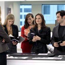 Caitlin Fitzgerald, Leighton Meester e Penn Badgley nell'episodio Damien Darko di Gossip Girl