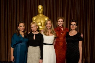 Le candidate all'Oscar per la migliore attrice Natalie Portman, Michelle Williams, Jennifer Lawrence, Nicole Kidman al Nominees Luncheon della 83. edizione degli Academy Awards