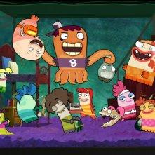 Foto di gruppo per i simpatici personaggi marini della serie Fish Hooks