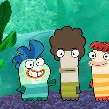 Milo, Oscar e Bea, i tre inseparabili protagonisti di Fish Hooks - Vita da pesci