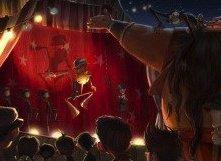 Pinocchio nel teatro dei burattini nella pellicola di animazione diretta da Gris Grimly