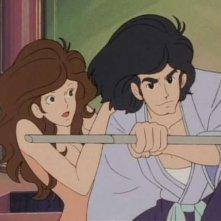 Fujiko e Goemon in una scena de Il tesoro di Al Capone della serie Lupin, l\'incorreggibile Lupin