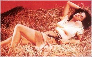 Jane Russell in uno dei celebri scatti promozionali de Il mio corpo ti scalderà (The Outlaw, 1943)