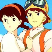 I due protagonisti in una scena del film d\'animazione Laputa: castello nel cielo