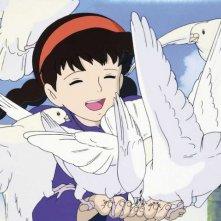 Sheeta in una scena del film d\'animazione Laputa: castello nel cielo