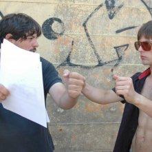 Damiano Russo sul set del cortometraggio Ice Scream assieme a Vito Palombo