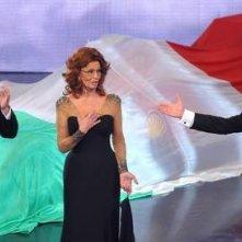 Sophia Loren con Pippo Baudo e Bruno Vespa in occasione dei festeggiamenti televisivi per il 150esimo anniversario dell'Unità d'Italia