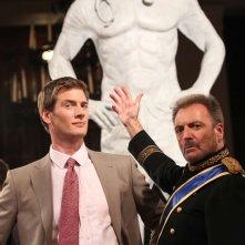 Ryan McPartlin e Armand Assante sul set della stgione 4 di Chuck