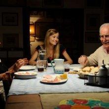 Veronica Olivier (al centro) tra Riccardo Garrone ed Emiliana Franzone sul set di Amore 14