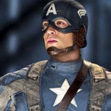 Un bel primo piano di Chris Evan in Captain America: il primo vendicatore