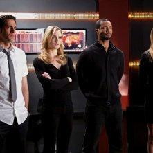 Zachary Levi, Yvonne Strahovski, Isaiah Mustafa e Stacy Keibler nell'episodio Chuck Versus The A-Team