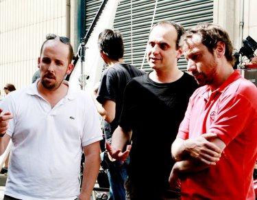 Mattia Torre, Luca Vendruscolo e Giacomo Ciarrapico sul set di Boris il film