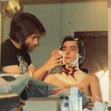 Griffin Dunne e Rick Baker sul set di Un lupo mannaro americano a Londra