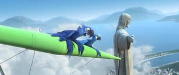 Due protagonisti di Rio in 3D sfiorano in volo il Cristo Redentor di Rio de Janeiro
