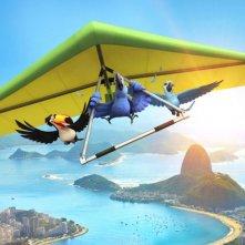 I protagonisti di Rio in 3D in volo sul deltaplano