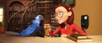 Rio in 3D, il pappagallo Blu con a sua padrona, una dolce bibliotecaria