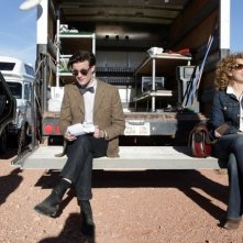 Matt Smith ed Alex Kingston sul set della stagione 6 di Doctor Who