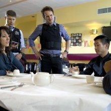 Jason Clarke, Jennifer Beals e Matt Lauria nell'episodio O'Leary's Cow di The Chicago Code