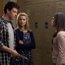Cory Monteith, Dianna Agron e Lea Michele nell'episodio A Night of Neglect di Glee