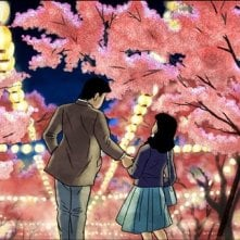 Passeggiata notturna sotto i fiori di ciliegio nel film d\'animazione Tatsumi