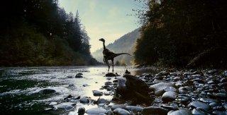 Un dinosauro in una misteriosa scena di The Tree of Life