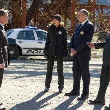 Marg Helgenberger, Marc Vann e Paul Guilfoyle nell'episodio The List di CSI: Scena del crimine