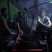 Duncan Jones e Jake Gyllenhaal sul set del film The Source Code
