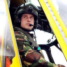 Il Principe William del Galles su un elicottero