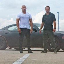 Vin Diesel con Paul Walker in una scena di Fast & Furious 5