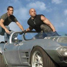 Vin Diesel con Paul Walker in una sequenza di Fast & Furious 5