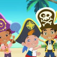 I simpatici protagonisti della serie animata Jake e i Pirati dell'Isola che non c'è