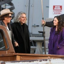 Mickey Rourke e Megan Fox sul set del film Passion Play con il regista Mitch Glazer