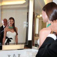 Festival di Cannes 2011: Bianca Balti con Fawaz Gruosi, presidente della griffe di gioielleria  De Grisogono