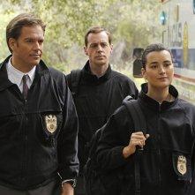 Michael Weatherly, Sean Murray e Cote de Pablo nell'episodio Swan Song di NCIS