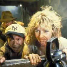 Harrison Ford, Jonathan Ke Quan e Kate Capshaw in una scena di Indiana Jones e il tempio maledetto