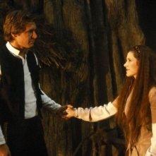 Carrie Fisher e Harrison Ford in una scena de Il ritorno dello jedi