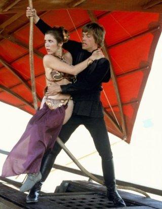 Carrie Fisher e Mark Hamill in una scena de Il ritorno dello jedi