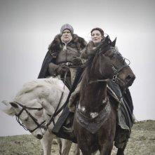 Michelle Fairley in una sequenza dell'episorio The Ponity End della prima stagione di Game of Thrones