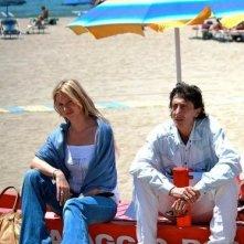 Olga Ohura e Franco Pistoni sul set di Tutti al mare