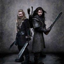Ecco in arrivo i giovani nani Fili e Kili (Dean O'Gorman e Aidan Turner) direttamente dal set di  The Hobbit: An Unexpected Journey