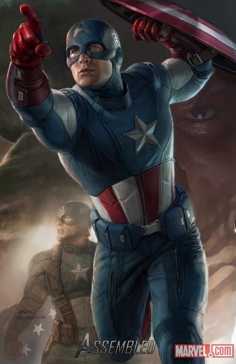 Poster Illustrato Di Chris Evans Alias Captain America In The Avengers I Vendicatori 209901