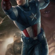 Poster illustrato di Chris Evans, alias Captain America, in The Avengers - I vendicatori
