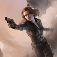Poster illustrato di Scarlett Johansson, alias Black Widow, in The Avengers - I vendicatori