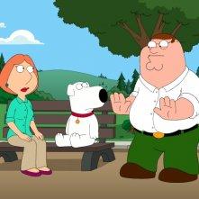 Peter, Lois e Brian in una scena di Extra Large Medium della serie-tv I Griffin