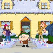 La famiglia Griffin senza Brian in una scena di Road to the North Pole della serie-tv I Griffin