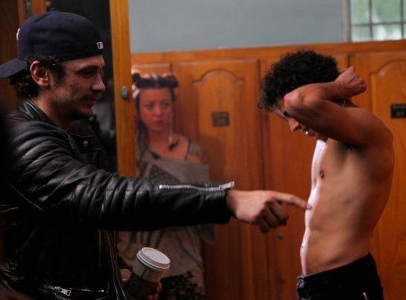 Val Lauren e James Franco sul set di Sal, biopic dedicata a Sal Mineo